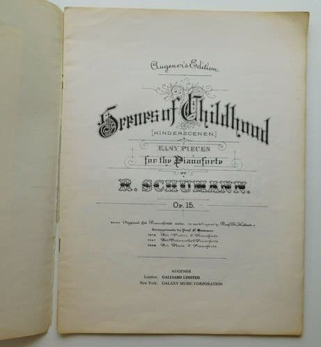 Schumann Scenes of Childhood Opus 15 for piano vintage sheet music book Augener